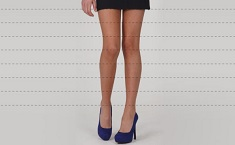 female legs with dotted lines representing length of a skirt.